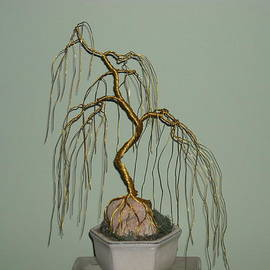 Ricks  Tree Art - # 11 Weeping willow exposed root-over rock wire tree sculpture