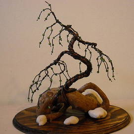 Ricks  Tree Art - # 23 Gentle juniper bonsai wire tree sculpture backview
