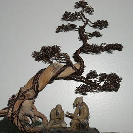 Ricks  Tree Art - # 25 Bonsai tree wire sculpture scene of men relaxing