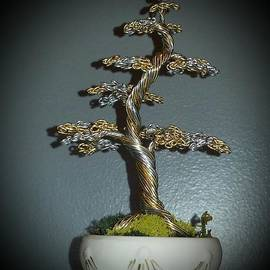 Ricks  Tree Art - # 61 Tiny Treasures Bonsai Tree wire tree sculpture
