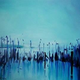 Jolanta Shiloni -  Lake with reeds in blue