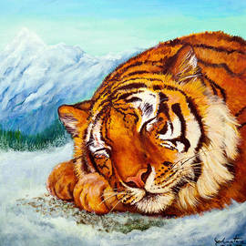 Bob and Nadine Johnston -  Tiger Sleeping in Snow