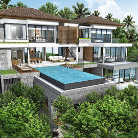 Thanes - 3D rendering of tropical house exterior