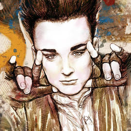 Kim Wang - Boy George stylised drawing art poster