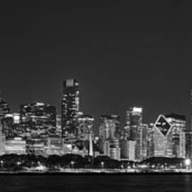 Adam Romanowicz - Chicago Skyline at Night Black and White Panoramic