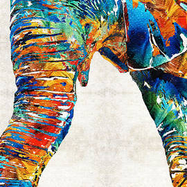 Sharon Cummings - Colorful Elephant Art by Sharon Cummings