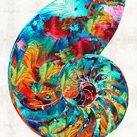Sharon Cummings - Colorful Nautilus Shell by Sharon Cummings