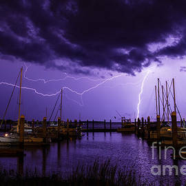 Dawna  Moore Photography - Lightning over Fernandina Beach Marina Amelia Island Florida