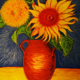 Jose A Gonzalez Jr - Still Life - Clay Vase with Two Sunflowers