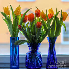 Kerstin Ivarsson - Three blue vases with tulips in a windowsill