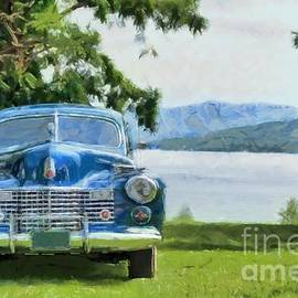 Edward Fielding - Vintage Blue Caddy at Lake George New York
