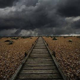 Jaroslaw Blaminsky - Wooden path in the wilderness. Dramatic sky in the background