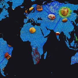 Augusta Stylianou - World Map and Aquarius Constellation