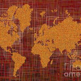 Eleven Corners - World Map Rettangoli in Orange Red and Brown