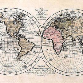 Karon Melillo DeVega - 1791 Antique World Map Die Funf Theile der Erde