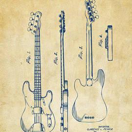 Nikki Marie Smith - 1953 Fender Bass Guitar Patent Artwork - Vintage