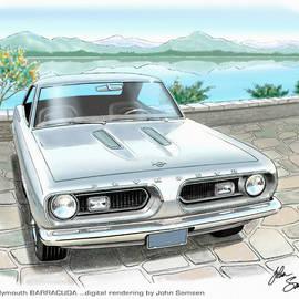 John Samsen - 1967 BARRACUDA  classic Plymouth muscle car sketch rendering