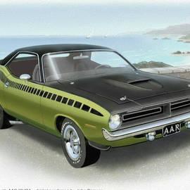 John Samsen - 1970 BARRACUDA AAR Cuda muscle car sketch rendering