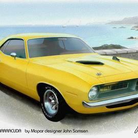 John Samsen - 1970 BARRACUDA classic Cuda Plymouth muscle car sketch rendering