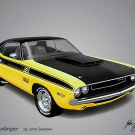 John Samsen - 1970 CHALLENGER T-A muscle car sketch rendering