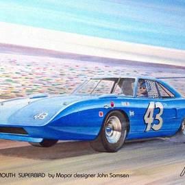 John Samsen - 1970 SUPERBIRD Petty NASCAR racecar muscle car sketch rendering