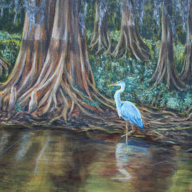 Nancy Chenet - Heron by the cypress trees