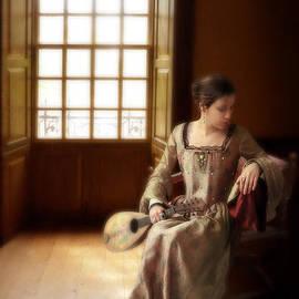 Jill Battaglia - Lady in 16th Century Clothing with a Mandolin