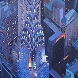 M Bleichner - New York City Midtown Manhattan with Chrysler Building at Night