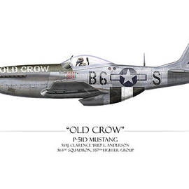 Craig Tinder - Old Crow P-51 Mustang - White Background