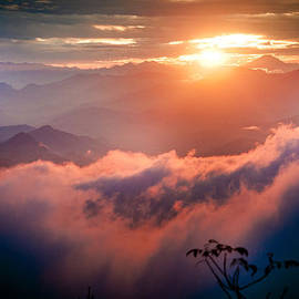 Raimond Klavins - Red Sunset Himalayas Mountain Nepal