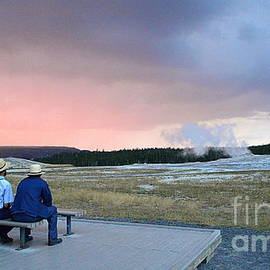 Catherine Sherman - Waiting for Old Faithful Geyser at Sunset