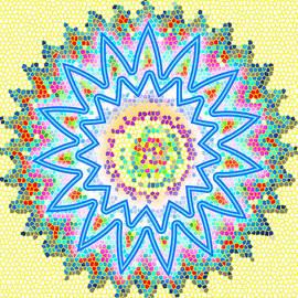 Navin Joshi - CHAKRA Energy  Mandala Ancient Healing Meditation Tool STAINED Glass pixels  Live Spinning Wheel
