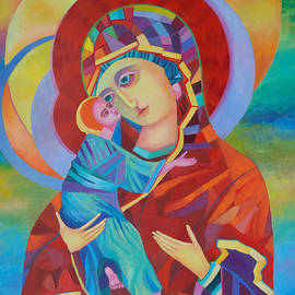 Magdalena Walulik - Madonna and Child colorful icon