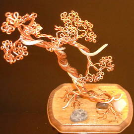 Ricks  Tree Art - #30 Copper and Alluminum Literati with Jin Bonsai Tree wire Sculpture