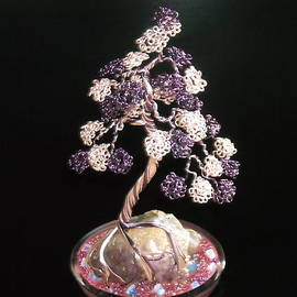 Ricks  Tree Art - #31 Spiritually Amethyst wire sculpture bonsai tree