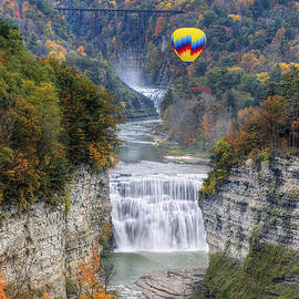 Jim Vallee - Hot Air Balloon Over The Middle Falls At Letchworth State Park