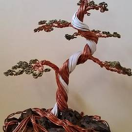 Ricks  Tree Art - #54 Spiral Trunk Juniper Bonsai Tree Wire Sculpture