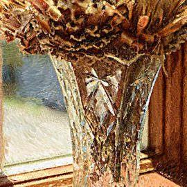 Mike Nellums - A Painting Dried Protea and Crystal Vase