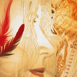 Andrea Ribeiro - A Profile With Red Feathers- detail