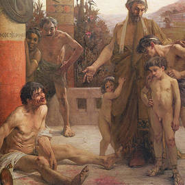 Fernand Sabbate - A Spartan points out a drunken slave to his sons