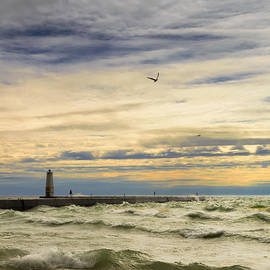 Dick Wood - A stormy late afternoon Frankfort Harbor Michigan