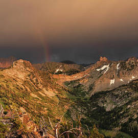 Leland D Howard - A thunder shower and rainbow in the Tetons