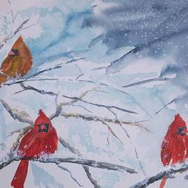 Ellen Levinson - A trio of Cardinals Nestled in Snow Covered Branches