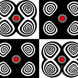 Drinka Mercep - Abstract Black White Red Op Art Minimalism No.217