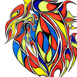 Minding My  Visions by Adri and Ray - Abstract Drawing in Primary Colors