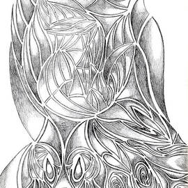 Minding My  Visions by Adri and Ray - Abstract Drawing Owl Hands Roses