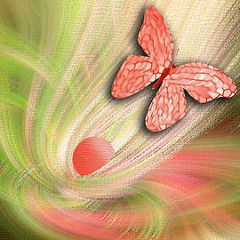 Linda Phelps - Abstract Floral with Butterfly