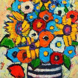 Ana Maria Edulescu - Abstract Flowers - Sunflowers And Colorful Poppies In Striped Vase