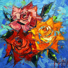 Mona Edulesco - Abstract Roses On Blue