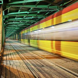 Artur Bogacki - Abstract Tram Light Trails on a Bridge